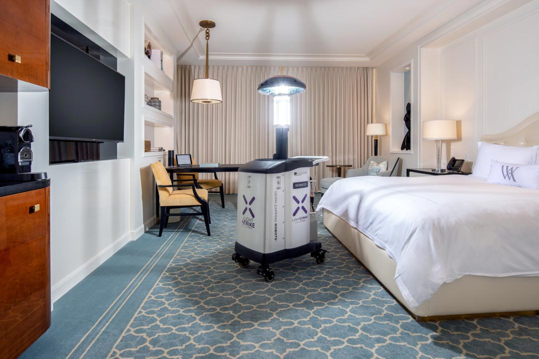 Xenex LightStrike™ Germ-Zapping Robot™ in a hotel room at the Waldorf Astoria Beverly Hills