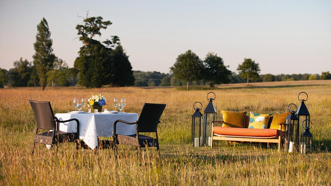 Table and chairs in the countryside at Four Seasons Hampshire