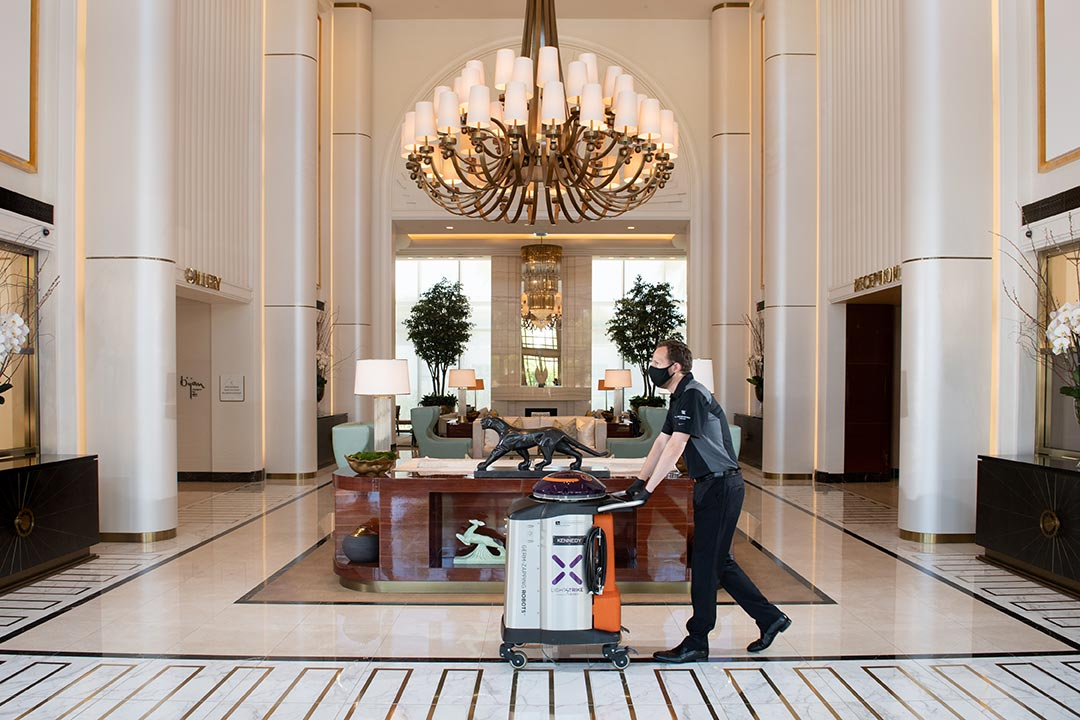 Staff cleaning at the Waldorf Astoria Beverly Hills